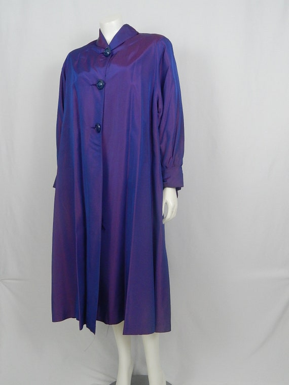 Vintage 50s Fifties Women's Purple Iridescent Swing Coat Rain Coat Over Coat Medium Large Long Sleeve Debutogs 3 Button Front Shawl Collar by Etsy