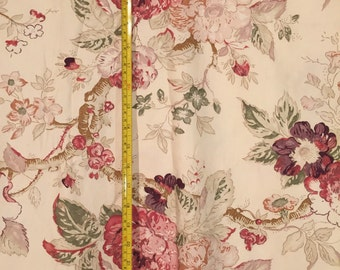 "Bellington Rose Roses Pattern Portfolio Textiles Pink Mauve Green Cream Ralph Lauren Style 54"" w x 3-1/3 yards cotton"