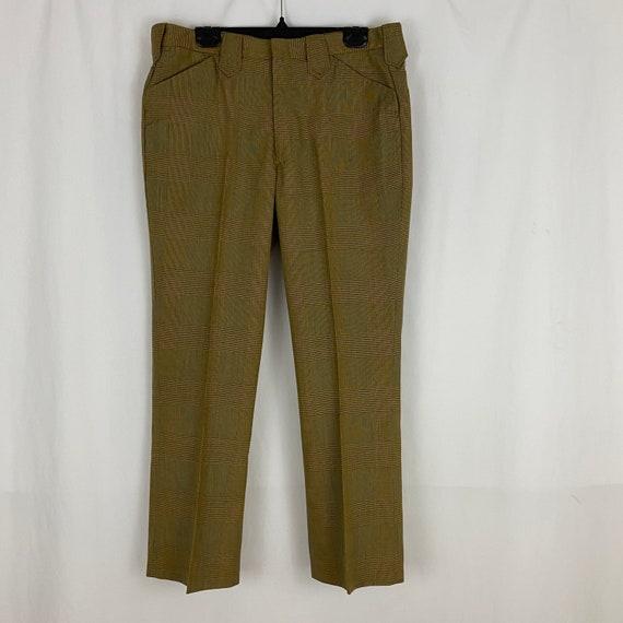 Orange Gray Brown Glen Plaid Pants Medium Medium … - image 3