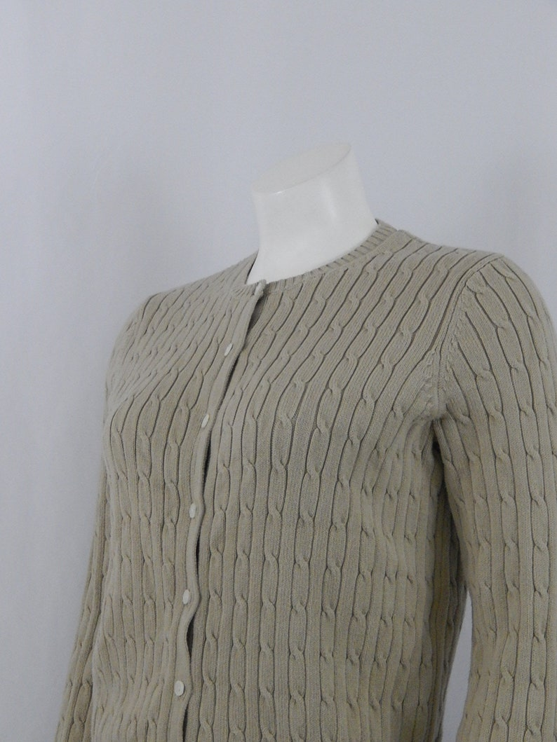 Tan Cotton Cardigan Sweater Small S Eddie Bauer  90s Nineties 1990s Cotton Stretch Preppy Classic Back to School Made in Hong Kong Vintage