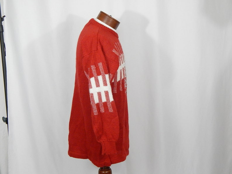 UGLY CHRISTMAS SWEATER Red White with Silver Bells Medium M Vanna White for R /& K Originals 90s Nineties