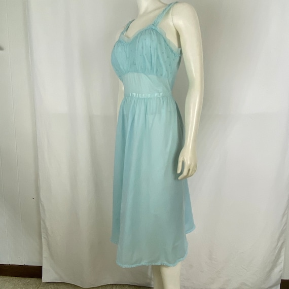 Blue Night Gown Large Lace Vintage 50's Fifties St