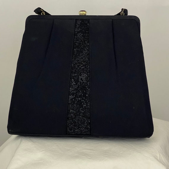Black Beaded Clutch Pretty Little Purse Black Evening Bag Fancy Black Purse