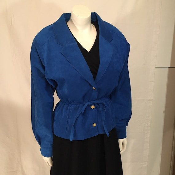 Electric Blue Bomber Jacket 80s Vintage Power Suit