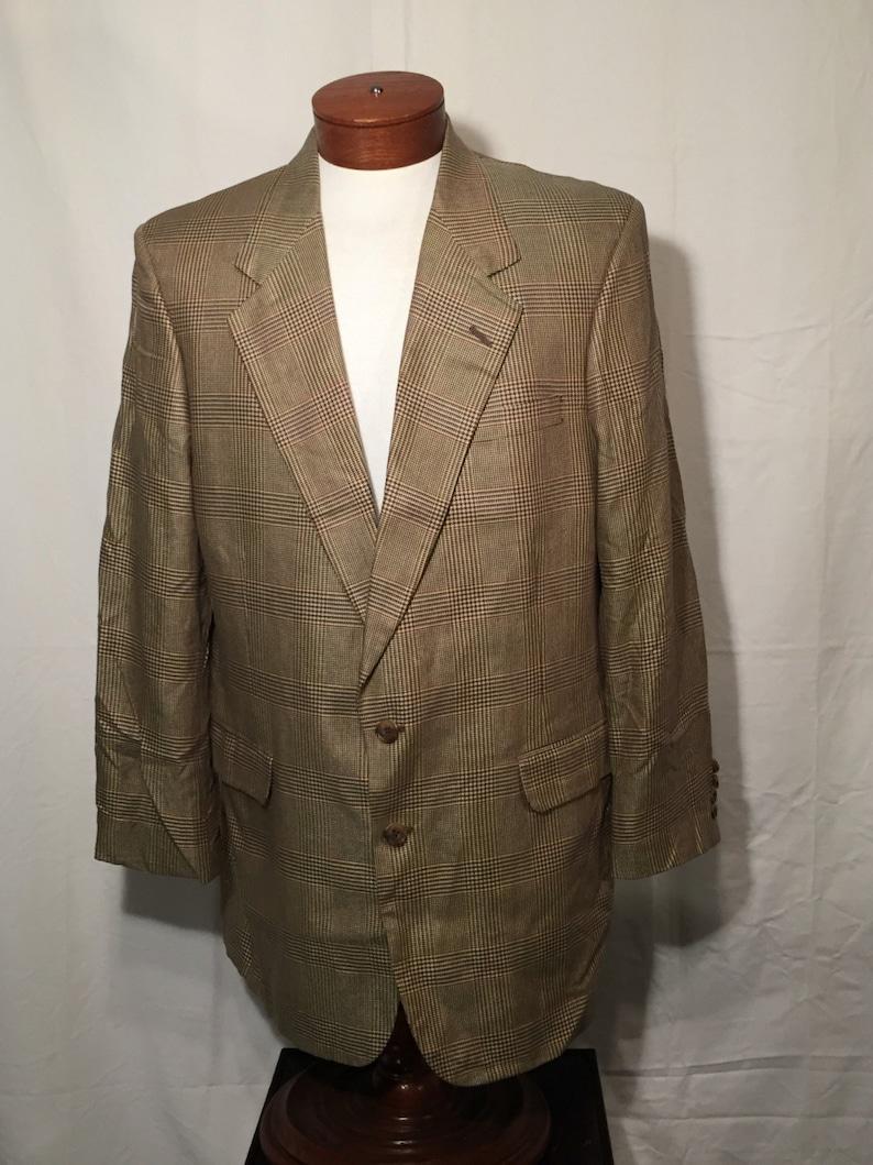 Vintage Aquascutum Glen Plaid Sport Coat Blazer 46 L Long Large Tan Grey Rust Orange Norman Stockton Made in USA