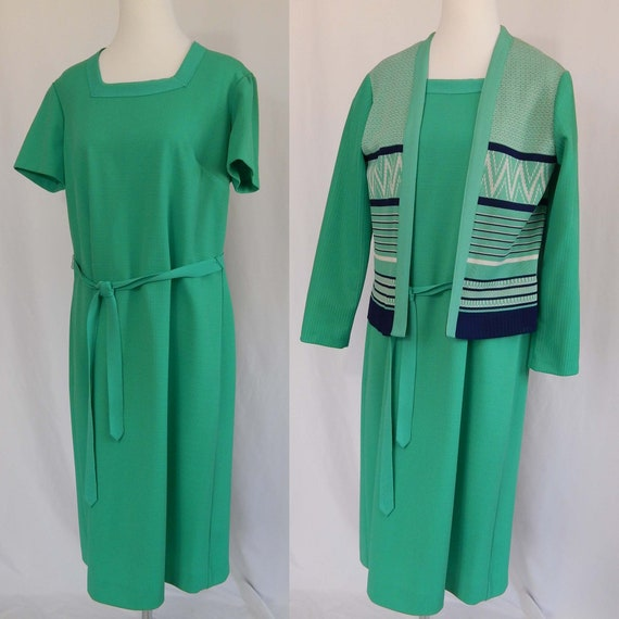 Green Blue White Dress XL Extra Large Vintage 70's