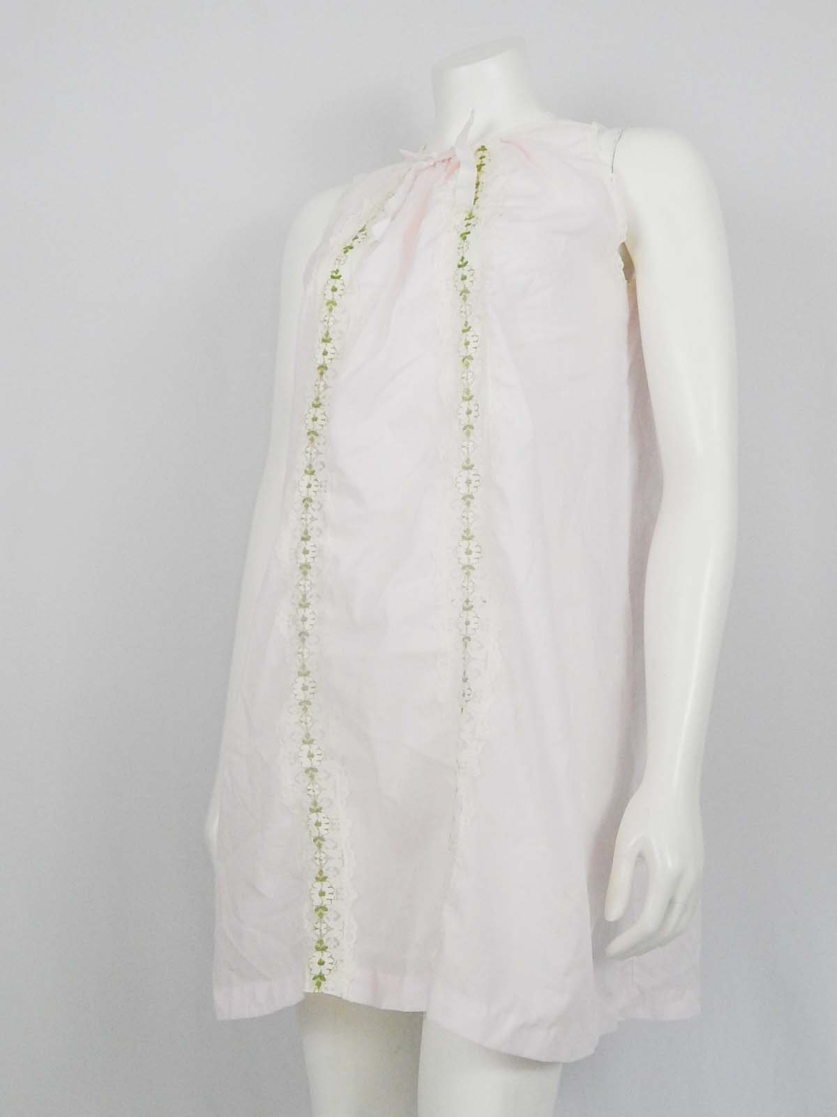 Vintage Pale Pink Sleeveless Small S Nightgown White Lace Etsy
