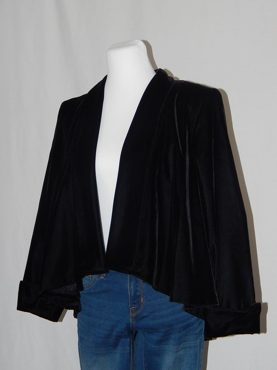 Steampunk Black Velvet Jacket PL Petite Large Drape Front Long Sleeve Cuff Sleeve Alex Evenings 80/'s Eighties Formal Prom