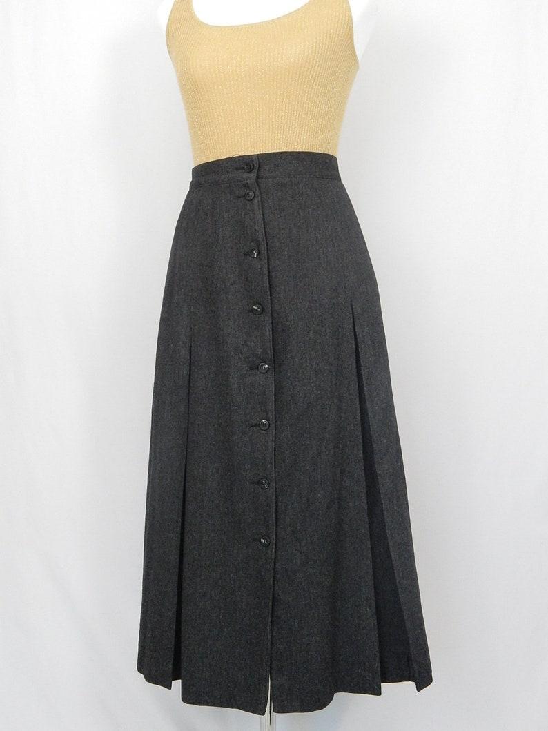 dd7aeba10e Vintage Gray Wool Small S Flannel Pleated Skirt Liz Claiborne | Etsy