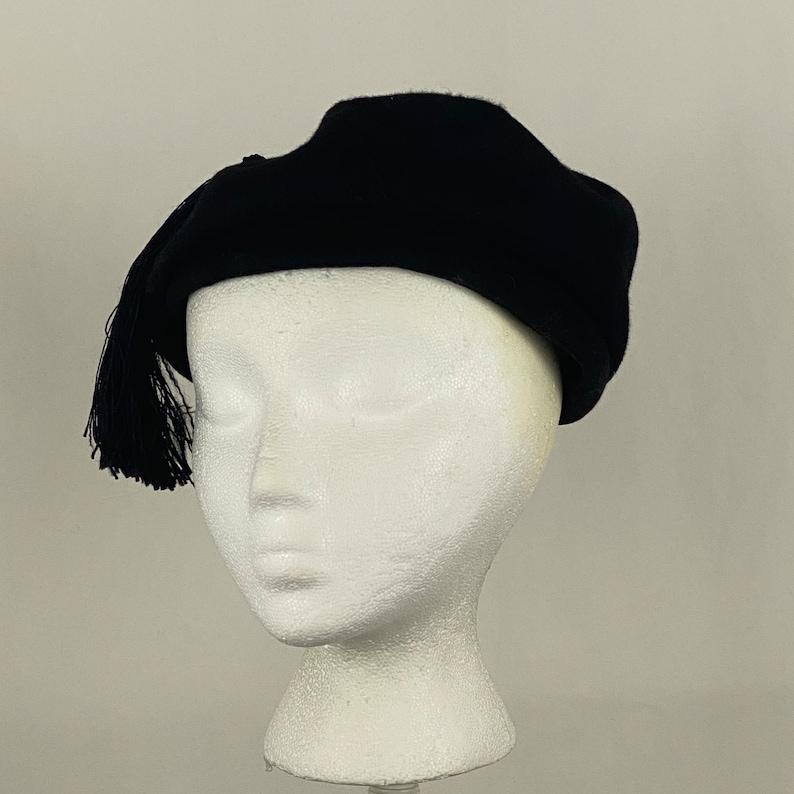Black Tam Newsboy Fifties Hat Small Tassel 50/'s Wool Felt Glenover Henry Pollak Preppy Millinery