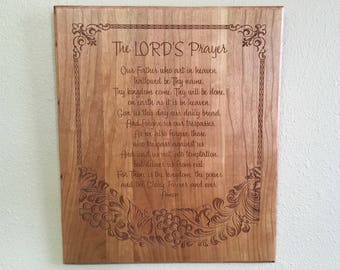 The Lord's Prayer - Cherry Wall Decor - Laser Engraved