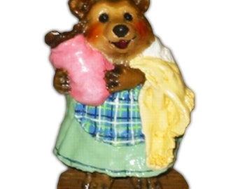 Wee Forest Folk BB-13 Grandma with Baby Plaid - Pink (RETIRED)