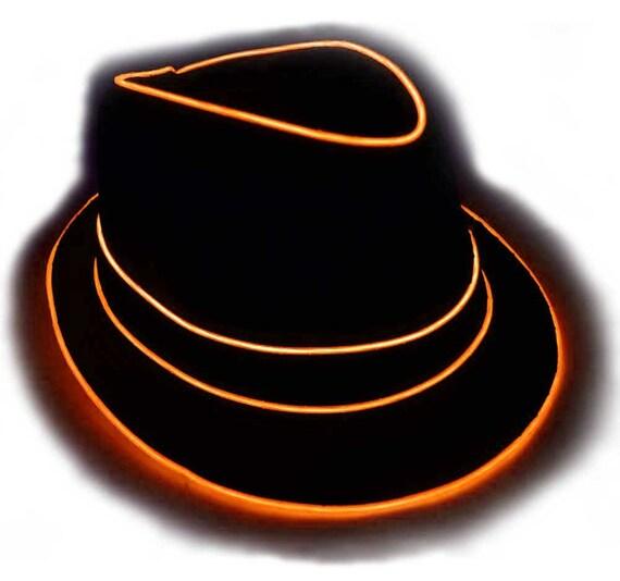 77d28d80c8f Orange Light Up Fedora Hat Hand Stitched Uses High Quality