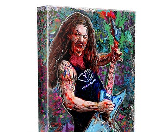 Dimebag Darrell Canvas, Pantera Original Painting Print, Heavy Metal Art