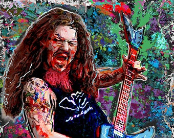 Dimebag Darrell Art, Pantera Rock Painting Art Print