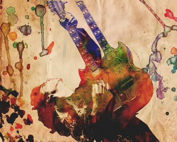 jimmy page art led zeppelin artwork classic rock watercolor etsy