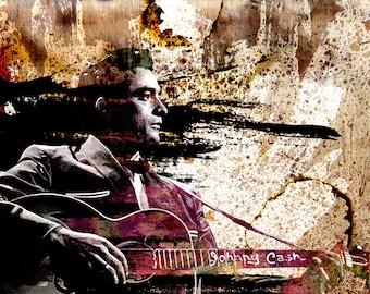 Johnny Cash Art, Mixed Media Collage Art, Mid Century Modern Art Print, Pop Art Painting