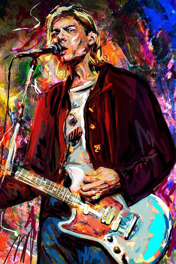 Kurt Cobain Original de Nirvana Cobain pintura arte lámina   Etsy
