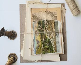 Paper Ephemera Pack, Junk Journal Kit , Vintage Ephemera, Book Pages, Vintage Postcard,  junk journal ephemera, Vintage Paper,