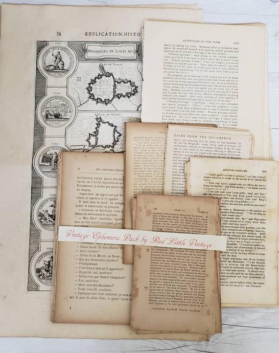 55 Piece, French Ephemera, Paper Pack, Set of Vintage Paper, Junk Journal  Kit, Ephemera Kit,