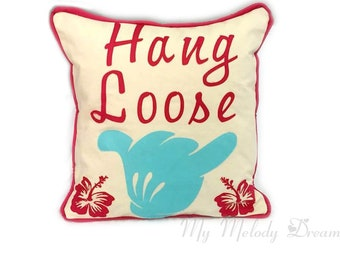 Unique Hang Loose Shaka Mickey Mouse Hibiscus Hawaii  Cushion Cover Handmade Applique' Turquoise Hot Pink Natural Cotton