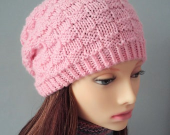 a07f367dcb5 Womens Pink Wool Hat Slouchy Beanie in Basketweave Design Gift for Women  Birthday Gift for Sister Friend Handmade Wool Beanie Farmers Market