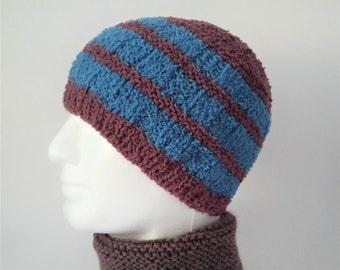 02f4d4d0548 Mens Striped Beanie Brown and Blue Handmade Hat Supersoft Chemo Hat Winter  Cap Gift for Men Christmas Gift for Him Warm Knit Hat  INISHFREE
