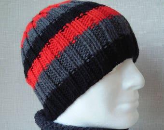 SAM HAT Mans Striped Hat/Mans Winter Hat/Handknit Hat/Black Red Hat/Stripe Knit Beanie/Mans Wool Free Hat/Gift for Him/Striped Hat Toque