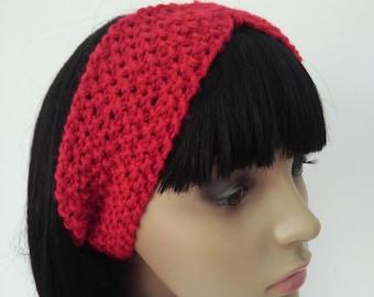 RED HEADBAND Handmade Bohemian Summer Hair Accessories Knit Headband Gift for Her Womens Beach Headband Girls Knit Hairband Earwarmer