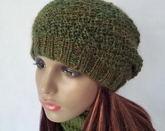 Gift for Women Handmade Green Knit Beanie Womens Slouchy Beanie Gift for Her Mom Gift Birthday Present Olive Green Woolen Hat /GARRYVOE