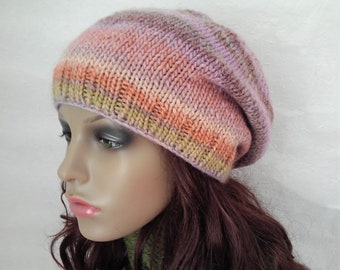 CARA BEANIE/Womans Wool Hat/Multicolor Beanie/Handknit Hat/Slouch Beanie/Womans Winter Hat/Girls Slouch Hat/ Gift for Her/Womans Wool Toque