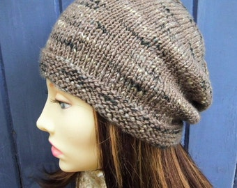 Brown Knit Hat Womens Handmade Unisex Knitted Winter Wool Hat Gift for Her Brown Slouchy Beanie 21st Birthday Brother Sister Gift BOGLAND