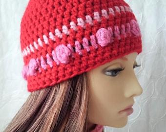Red Wool Crochet Beanie Hat for Women Gift for Her Womens Crochet Beanie Sisters Gift 30th Birthday For Her Handmade Unique Boho Hat MELANIE