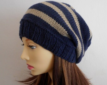 CAMPUS BEANIE Womans Blue Beanie/Navy Taupe Stripe Hat/Blue Slouch Beanie/Gift for Her/ Girls Slouch Hat/ Slouchy Knit Beanie/College Beanie