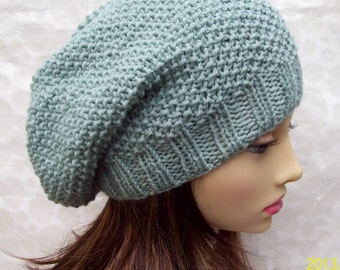 ROXANNE HAT Womans Handknit Hat/Mint Slouch Hat/Spring Wool Beanie/Gift for Her/Mint Green Slouch Hat/Womans Mint Toque/GreenBeanie/Under 50