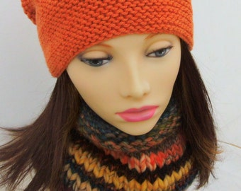 BUENOS AIRES COWL/Womans Knit Cowl/Chunky Handknit Cowl/Multicolor Wool Cowl/Gift for Her Girls Knit Scarf/Wool Knit Cowl/Yellow Orange Cowl