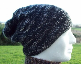 Mens Black Wool Hat Handknit Beanie Gift for Dad Gift for Him Black Slouch Beanie Teens Black Beanie Toque Fathers Gift Husband Hat /BOGLAND