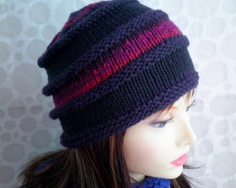PAGODA HAT Womans Handknit Hat/Womans Wool Hat/Purple Wool Hat/Gift for Her/Womans Winter Hat/Wool Knit Hat/Winter Warm Wool Hat/Under 50