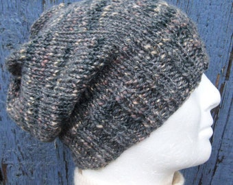 Mens Slouchy Beanie Gray Tweed Handmade Hat Gift for Him Boyfriend Beanie Mens Grey Toque Gift for Dad Son Brother Graduation Gift /Charley