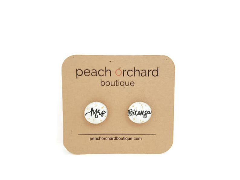 Customizable Hand Drawn  Mrs earrings with REAL image 0
