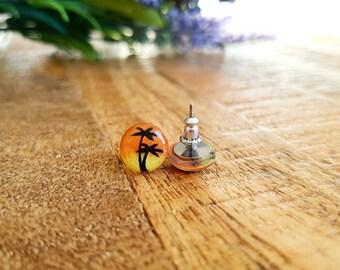 NEW Hand Drawn Hawaiian Sunset earrings- Palm tree studs- summer jewelry- beach jewelry- tropical earrings