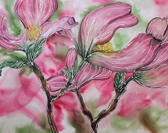 Pink Dogwood Flower Watercolor Fine Art Print, Available in 8x12, 11x17, and 20x28 inches