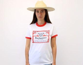 745dbdfca2b Budweiser Beer Shirt // vintage 70s Bud boho hipster tee t-shirt t dress  70s blouse white ringer beer 80s anheuser busch // S/M
