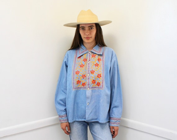 Condesa Denim Shirt // vintage 70s Mexican jean 1970s boho country cotton hippie jacket dress embroidered // O/S