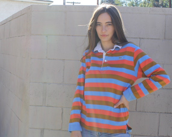 Vampire Weekend Izod Lacoste Polo // vintage boho hippie rugby  hipster dress blouse preppy top shirt 80s striped 1980s // S/M