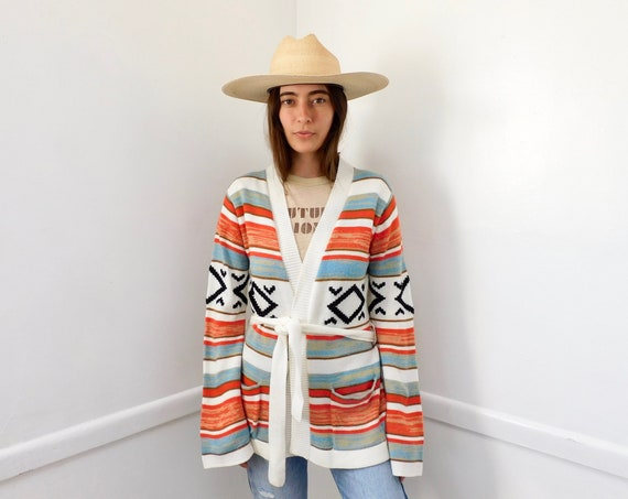Coral Sea Cardigan Sweater // vintage 70s knit hippie dress blouse hippy 1970s tunic space dye white // S/M