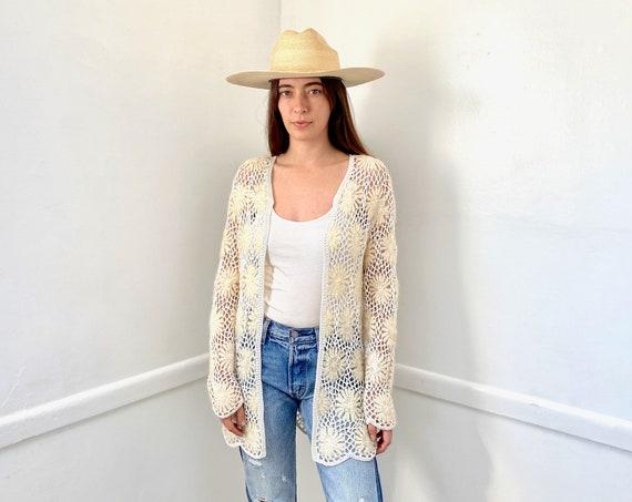 Crochet Daisy Sweater // vintage 60s 70s cardigan knit hippie dress blouse hippy 1970s tunic white // S/M