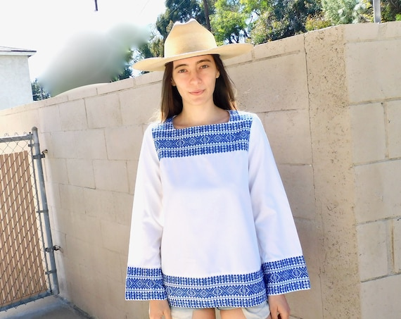 Hand Embroidered Blouse // vintage 70s 1970s white cotton boho hippie Mexican hand embroidered dress hippy // S/M