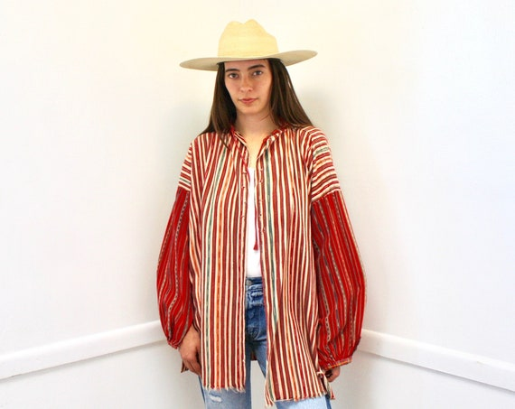 Ikat Blouse // vintage red white dress top shirt boho hippie woven tunic cotton Mexican Guatemalan 70s 80s oversize // O/S