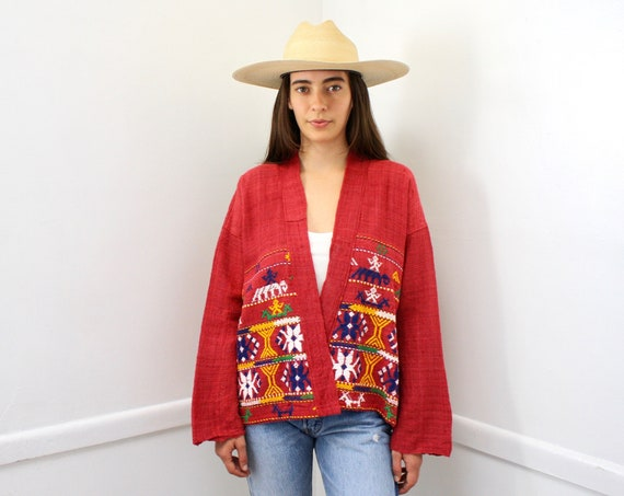 Arco Iris Shirt // vintage 70s Mexican 1970s boho country cotton hippie jacket dress hand embroidered blouse cardigan tunic jacket // O/S
